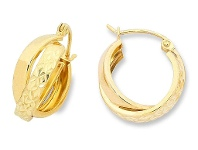 Bevilles 9ct Yellow Gold Silver Infused Earrings