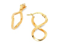 Bevilles 9ct Yellow Gold Silver Infused Hoop Earrings- 1mm