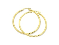 Bevilles 9ct Yellow Gold Silver Infused Plain Hoop Earrings 30mm