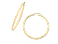 Bevilles 9ct Yellow Gold Silver Infused Hoop Earrings 50mm
