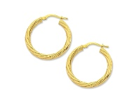 Bevilles 9ct Yellow Gold Silver Infused Twist Hoop Earrings 50mm