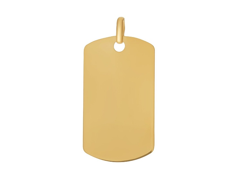 9ct Yellow Gold Silver Infused Dog Tag