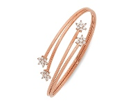Bevilles 9ct Rose Gold Silver Infused Bangle with Flower Ends