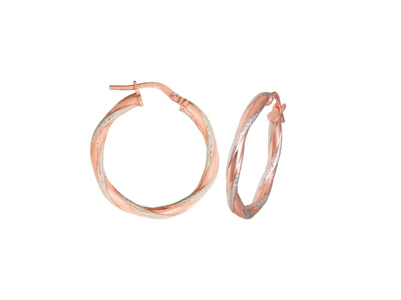 Twist Two Tone Earrings 20mm in 9ct Silver Infused Rose Gold