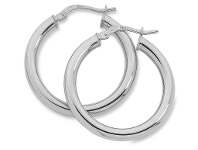 Bevilles 9ct White Gold Silver Filled Plain Hoop Earrings- 3mm x 50mm