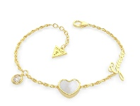 Bevilles Guess Sea Gift Gold Plated Mother of Pearl White Heart & Crystal Bracelet