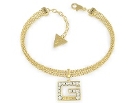 Bevilles Guess G Multi Chain Square Gold Plated G Squared Pave Multi Chain Bracelet
