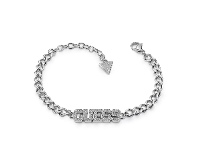 Bevilles Guess College 1981 Rhodium Plated Pave Guess Capital Bold Bracelet