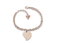 Bevilles Guess Love Rose Gold Plated Guess Love Heart Charm Bracelet