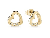 Bevilles Guess Hearted Chain Gold Plated Heart Stud Earrings