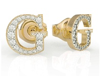 Bevilles Guess G Multi Chain Gold Plated G Round Pave Stud Earrings