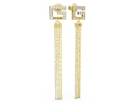 Bevilles Guess G Multi Chain Square Gold Plated G Squared Pave Long Earring