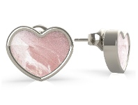 Bevilles Guess Sea Gift Rhodium Plated Mother of Pearl Pink Heart Stud Earrings