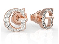 Bevilles Guess G Multi Chain Rose Gold Plated G Round Pave Stud Earrings