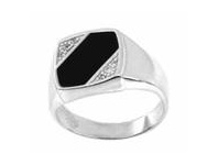 Bevilles Stainless Steel Black & Cubic Zirconia Gents Ring