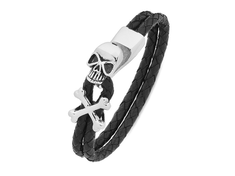 Stainless Steel Black Leather Band Bracelet