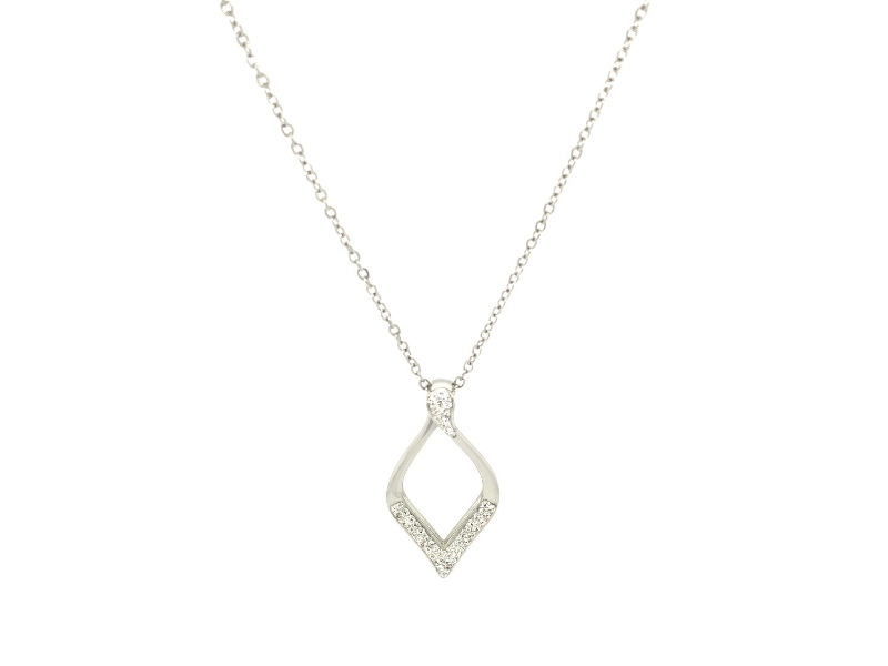 Pave Crystal Open Teardrop Necklace in Stainless Steel
