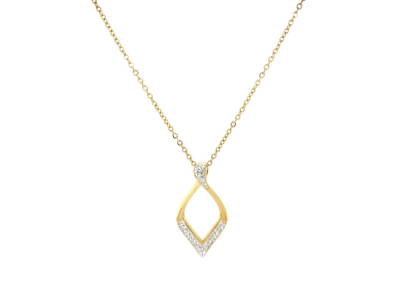 Pave Crystal Open Teardrop Necklace in Gold Stainless Steel
