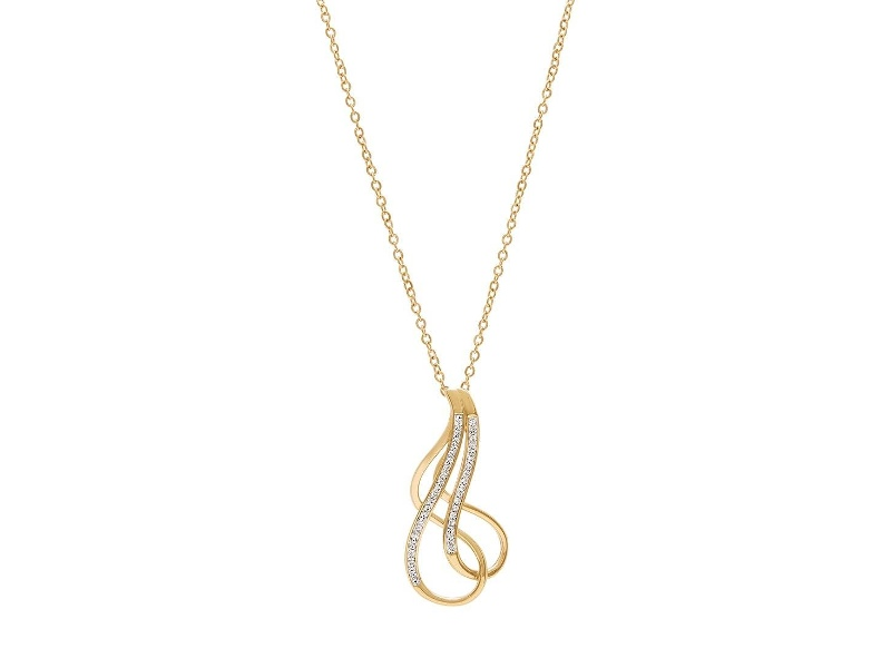Crystal Open Swirl Necklace in Yellow Stainless Steel