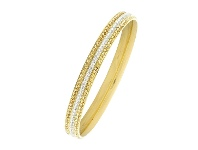 Bevilles Yellow & White Crystal Pave Bangle in Stainless Steel