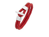 Bevilles Stainless Steel Red Plait Leather Band Loop Clasp Bracelet