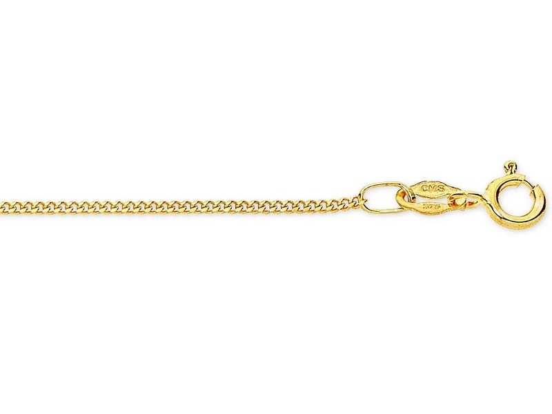 9ct Yellow Gold Fine Curb Chain Necklace 40cm