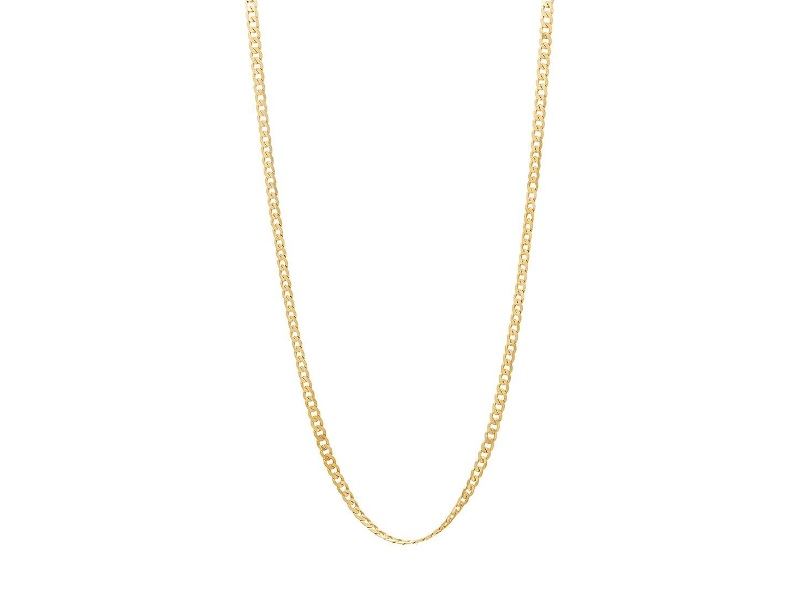 9ct Yellow Gold Diamond Cut Curb Chain Necklace 46cm