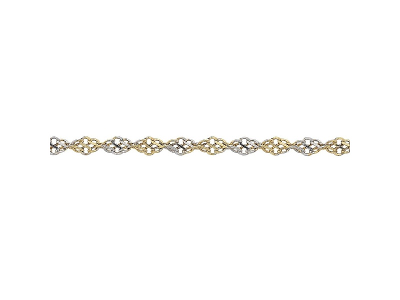 9ct Yellow Gold 2 Tone Twisted Infinity Chain Necklace 45cm