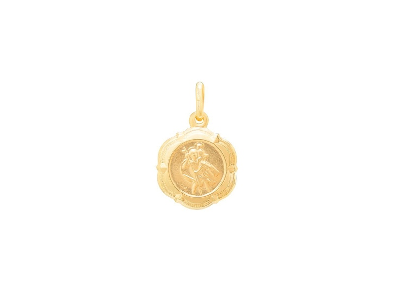 St Christopher Scalloped Edge Medal Pendant in 9ct Yellow Gold