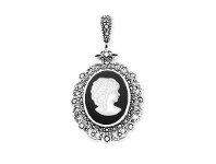 Bevilles Sterling Silver Cameo on Onyx and Marquisite Edging