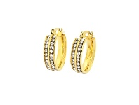 Bevilles Stainless Steel Yellow Tone Crystal Hoops