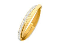 Bevilles Stainless Steel Gold Colour Plain & Crystal Double Bangle