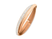 Bevilles Stainless Steel Rose Colour Plain & Crystal Double Bangle - 65MM