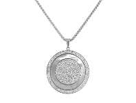 Bevilles Stainless Steel Mother of Pearl Disc Necklace