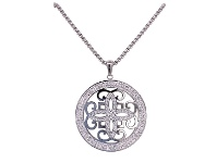 Bevilles Stainless Steel Pave Crystal Disc Necklace