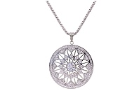 Bevilles White Pave Crystal Star Necklace in Stainless Steel