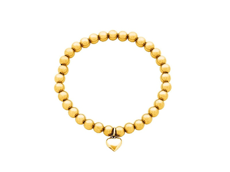 Stainless Steel Gold Colour Stretch Bead Bracelet with Heart Charm