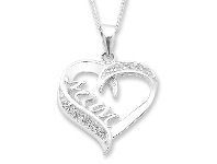 Bevilles Sterling Silver 'Mum' Heart Cubic Zirconia Necklace
