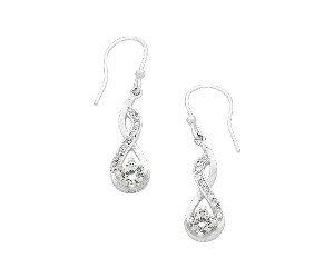 Sterling Silver Twisted Cubic Zirconia Earrings