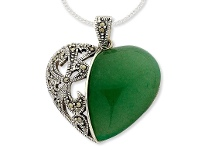 Bevilles Sterling Silver Necklace Jade and Marquisite Necklace