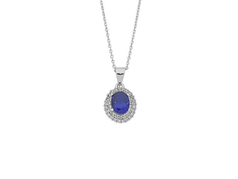 Sterling Silver Blue Cubic Zirconia Necklace