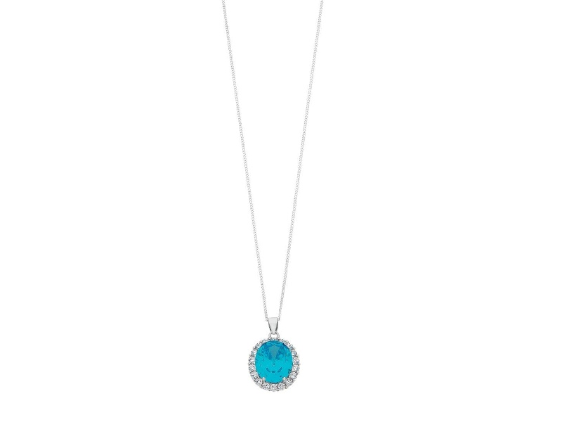 March Birthstone Sterling Silver Light Blue Cubic Zirconia Necklace
