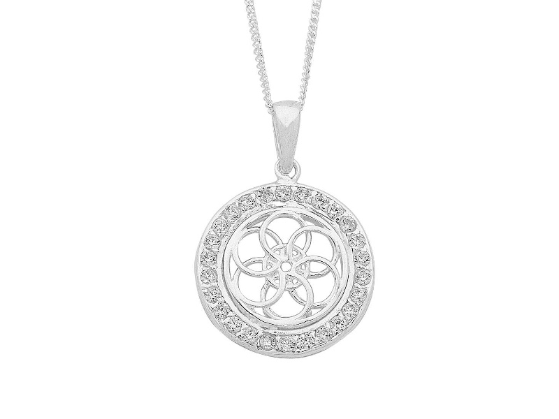 Sterling Silver Open Flower Inside Circle Necklace