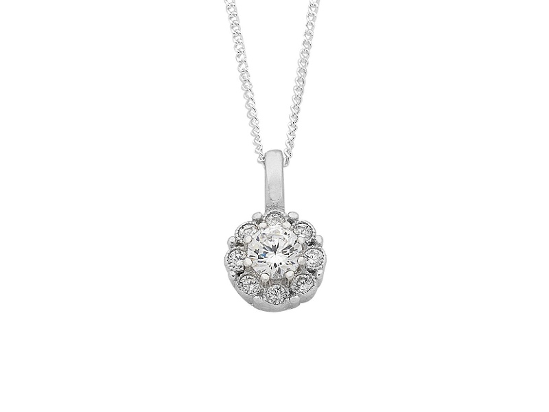 Sterling Silver Cluster Pendant Necklace
