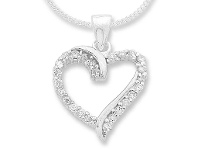 Bevilles Sterling Silver Cubic Zirconia Heart Necklace