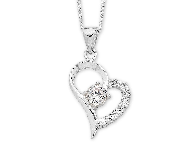 Sterling Silver Cubic Zirconia & Open Heart Necklace