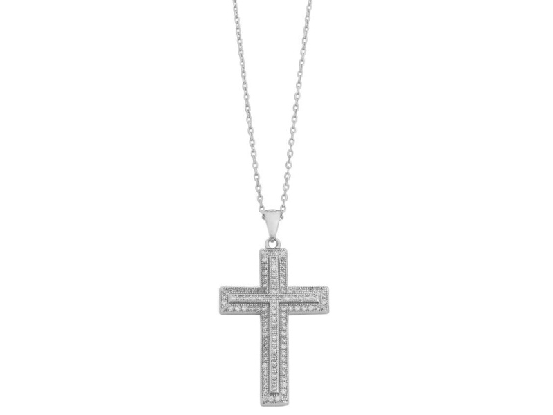 Sterling Silver Cubic Zirconia Cross Necklace