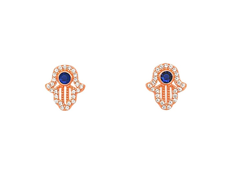 Rose Plated Sterling Silver White and Blue Hamsa Stud Earrings