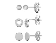 Bevilles Set of 3 Sterling Silver and Cubic Zirconia Stud Earrings