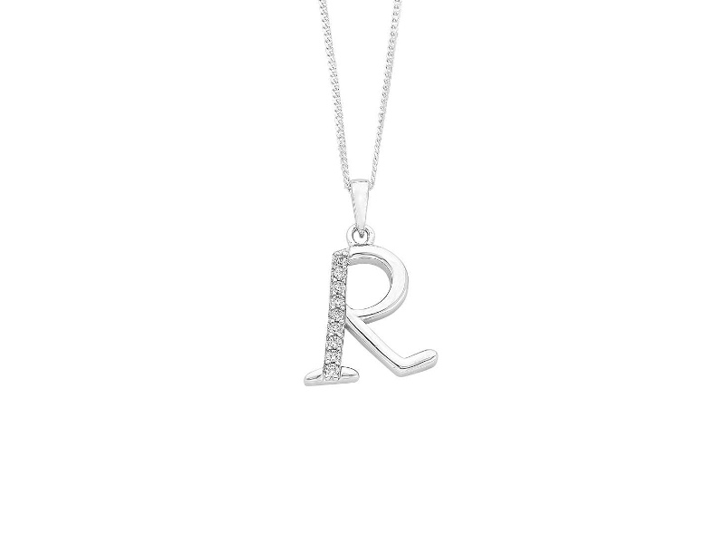 Sterling Silver Cubic Zirconia Initial Necklace - Most Initials Available - R